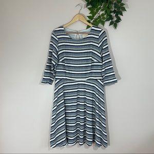 Modcloth 1X Blue Whtie Striped Fit and Flare Dress